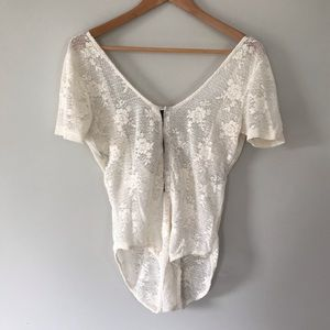 Anthropologie Lace Bodysuit Semi-Sheer Cream
